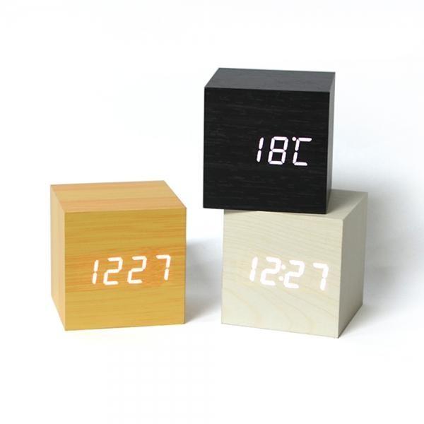 LED 우드 큐브 USB 탁상시계 건전지 미포함